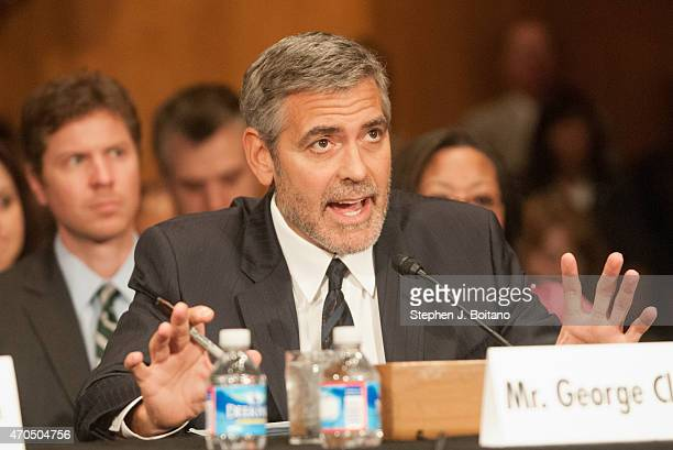 Actor George Clooney testifies during a Senate Foreign Relations Committee hearing on Sudan and South Sudan Independence and Insecurity on Capitol...