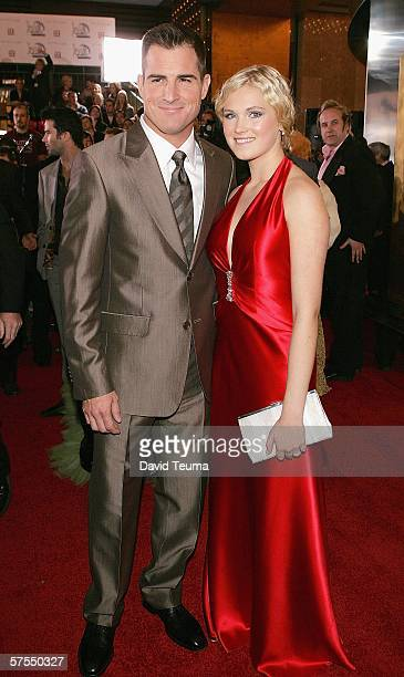 Actor George Eads and Eliza TaylorCotter pose as they arrive for the 2006 TV Week Logie Awards at the Crown Entertainment Complex on May 7 2006 in...