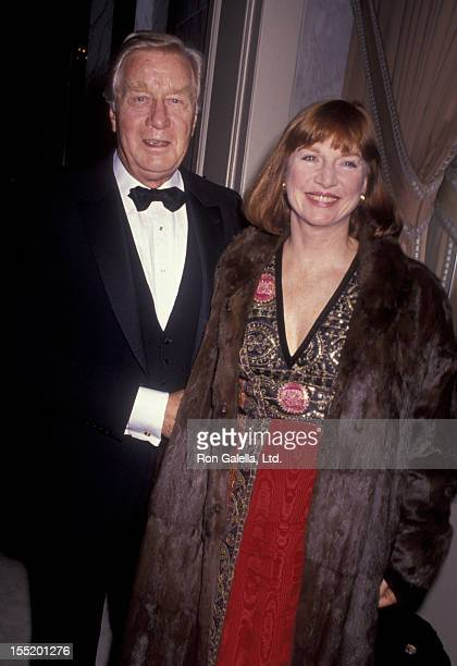 Actor George Gaynes and Allyn Ann McLerie attend Spirit of America Awards Gala on December 12 1990 at the Beverly Wilshire Hotel in Beverly Hills...