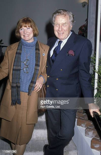 Actor George Gaynes and Allyn Ann McLerie sighted on December 18 1986 at Spago Restaurant in West Hollywood California
