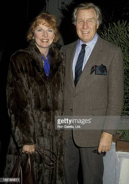 Actor George Gaynes and Allyn Ann McLerie sighted on February 21 1986 at Spago Restaurant in West Hollywood California