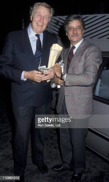Actor George Gaynes and Giancarlo Giannini sighted on December 18 1986 at Spago Restaurant in West Hollywood California