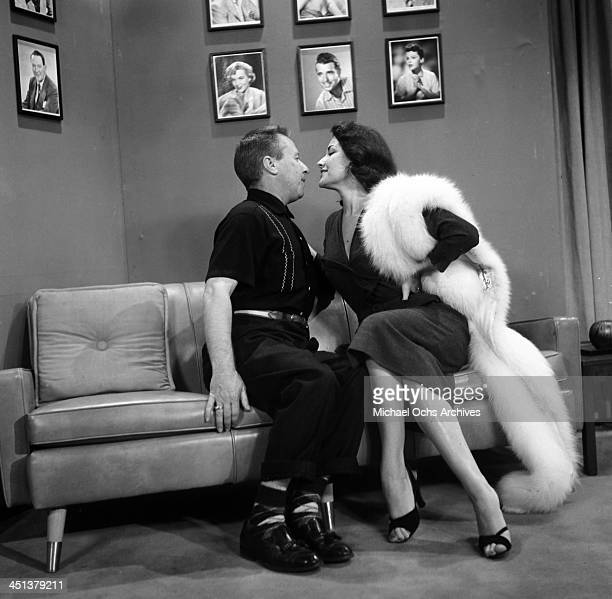 Actor George Gobel on set of theGeorge Gobel Show with Mara Corday in Los Angeles California