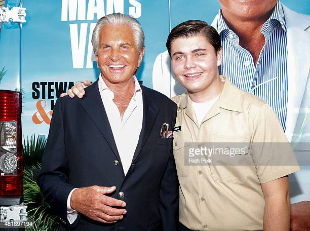Actor George Hamilton and George Thomas Hamilton pose for a photo as E sends the Tan Man's Van off in style at the Farmers Market in Los Angeles...