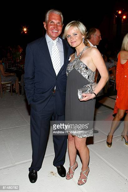 Actor George Hamilton and guest attend the Drinks Dinner and Disco Party the night before the wedding of Ivana Trump and Rossano Rubicondi at the...