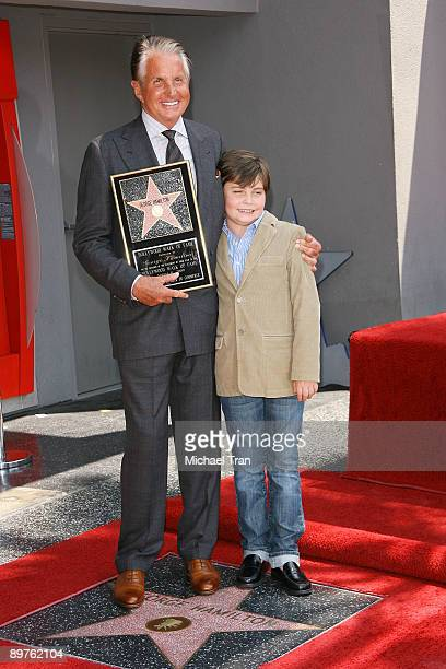 Actor George Hamilton and his son George Thomas Hamilton attend the ceremony honoring the actor with a star on the Hollywood Walk of Fame on August...