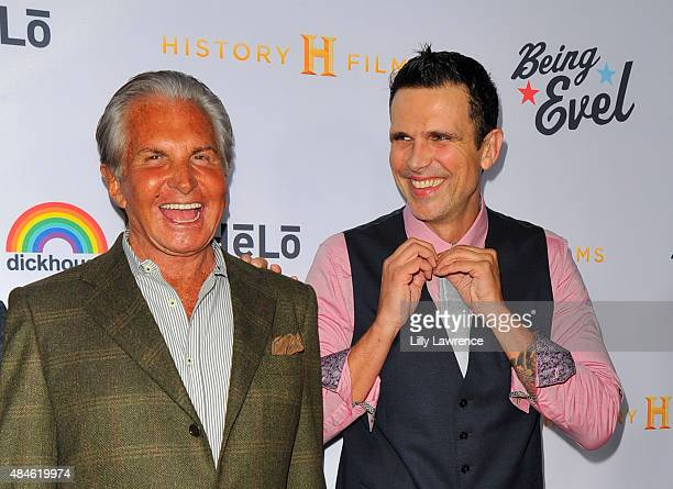 Actor George Hamilton and son Ashley Hamilton attend the Premiere Of Dickhouse Productions' Being Evel at ArcLight Cinemas on August 19 2015 in...