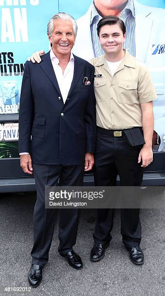 Actor George Hamilton and son George Thomas Hamilton attend E's Tan Man's Van photo op at The Grove on July 23 2015 in Los Angeles California