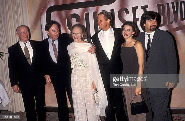 Actor George Hearn theater director Andrew Lloyd Webber actress Glenn Close actor Alan Campbell and actress Judy Kuhn attend the 'A Night to Fight...