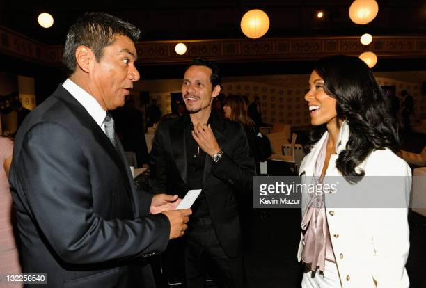 Actor George Lopez actor Marc Anthony and actress Jada Pinkett Smith attend the TEN Upfront 2011 at Hammerstein Ballroom on May 18 2011 in New York...
