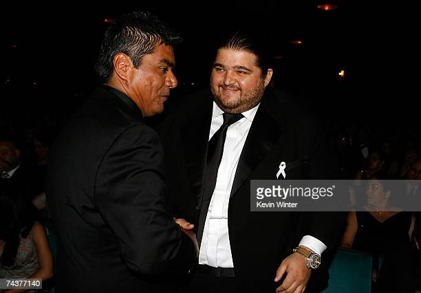 APPLIES*** Actor George Lopez and actor Jorge Garcia pose in the audience during the 2007 NCLR ALMA Awards held at the Pasadena Civic Auditorium on...