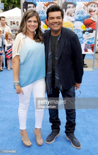 Actor George Lopez and daughter Mayan Lopez arrive at the Los Angeles premiere of Smurfs 2 at Regency Village Theatre on July 28 2013 in Westwood...