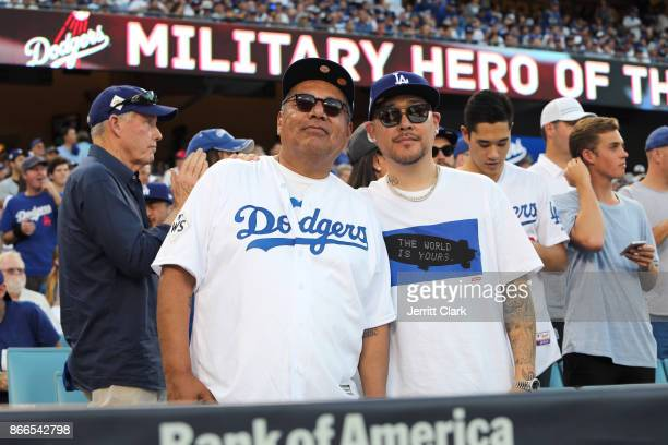 Actor George Lopez and jeweler Ben Baller attend The 2017 World Series Game 2 at Dodger Stadium on October 25 2017 in Los Angeles California
