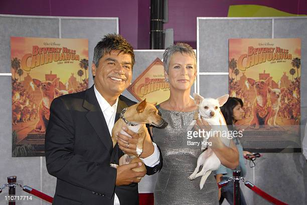 Actor George Lopez and Rusco and actress Jamie Lee Curtis with Angel arrive at the Walt Disney World Premiere of 'Beverly Hills Chihuahua' held at...