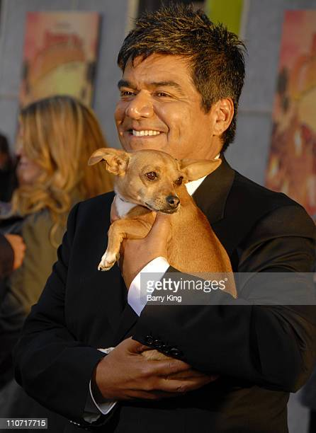 Actor George Lopez and Rusco arrives at the Walt Disney World Premiere of Beverly Hills Chihuahua held at the El Capitan Theatre on September 18 2008...