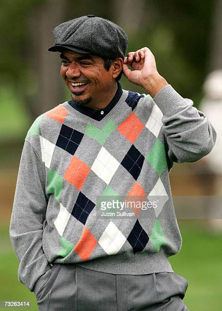 Actor George Lopez smiles on the first green of Spyglass Hill Golf Course during the first round of the AT&T Pebble Beach National Pro-Am February 8,...