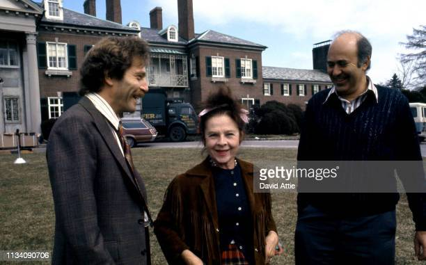 Actor George Segal actress Ruth Gordon and Director Carl Reiner on the set of the movie Where's Poppa in May 1970 in Long Island New York