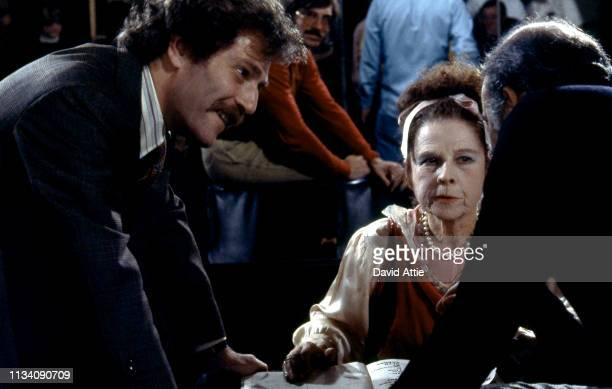 Actor George Segal actress Ruth Gordon and Director Carl Reiner on the set of the movie 'Where's Poppa' in May 1970 in Long Island New York