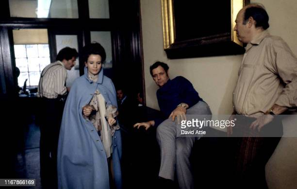 Actor George Segal actress Trish Van Devere and director Carl Reiner on the set of the movie Where's Poppa in May 1970 in Long Island New York