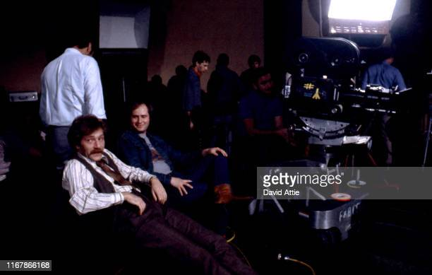 Actor George Segal and actor Rob Reiner on the set of the movie Where's Poppa in May 1970 in Long Island New York