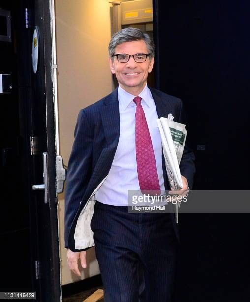 Actor George Stephanopoulos is seen outside Good Morning America on March 18 2019 in New York City