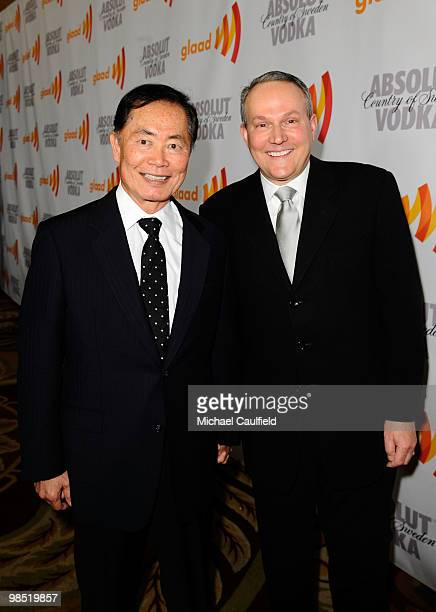 Actor George Takei and Brad Altman arrive at the 21st Annual GLAAD Media Awards held at Hyatt Regency Century Plaza Hotel on April 17 2010 in Los...