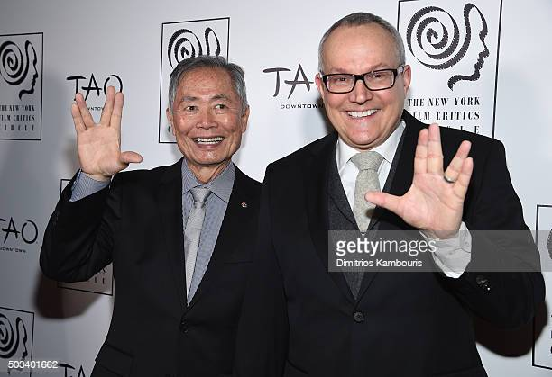 Actor George Takei and Brad Altman attend 2015 New York Film Critics Circle Awards at TAO Downtown on January 4 2016 in New York City