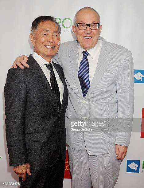 Actor George Takei and Brad Takei arrive at Point Foundation's Annual Voices On Point Fundraising Gala at the Hyatt Regency Century Plaza on...