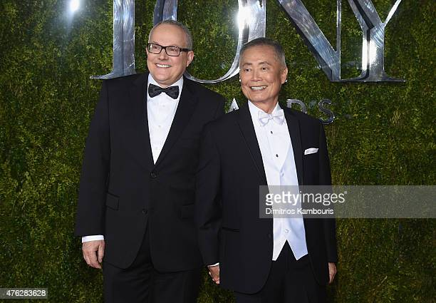 Actor George Takei and Brad Takei attend the 2015 Tony Awards at Radio City Music Hall on June 7 2015 in New York City