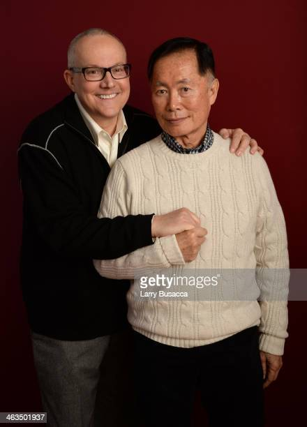 Actor George Takei and Brad Takei pose for a portrait during the 2014 Sundance Film Festival at the Getty Images Portrait Studio at the Village At...