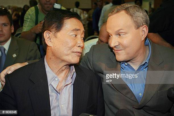 Actor George Takei and his partner Brad Altman speak to reporters June 17 2008 after signing documents allowing them to marry in West Hollywood...