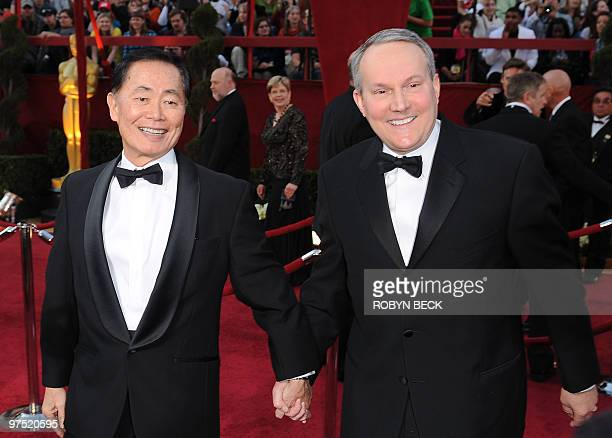 Actor George Takei and husband Brad Altman arrive at the 82nd Academy Awards at the Kodak Theater in Hollywood California on March 07 2010 AFP PHOTO...