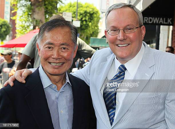 Actor George Takei and husband Brad Altman attend Walter Koenig being honored with a star on the Hollywood Walk of Fame on September 10 2012 in...
