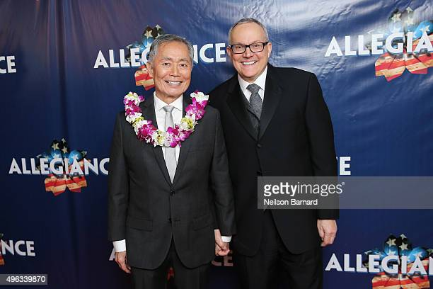 Actor George Takei and husband Brad Takei attend the 'Allegiance' Broadway opening night after party at Bryant Park Grill on November 8 2015 in New...