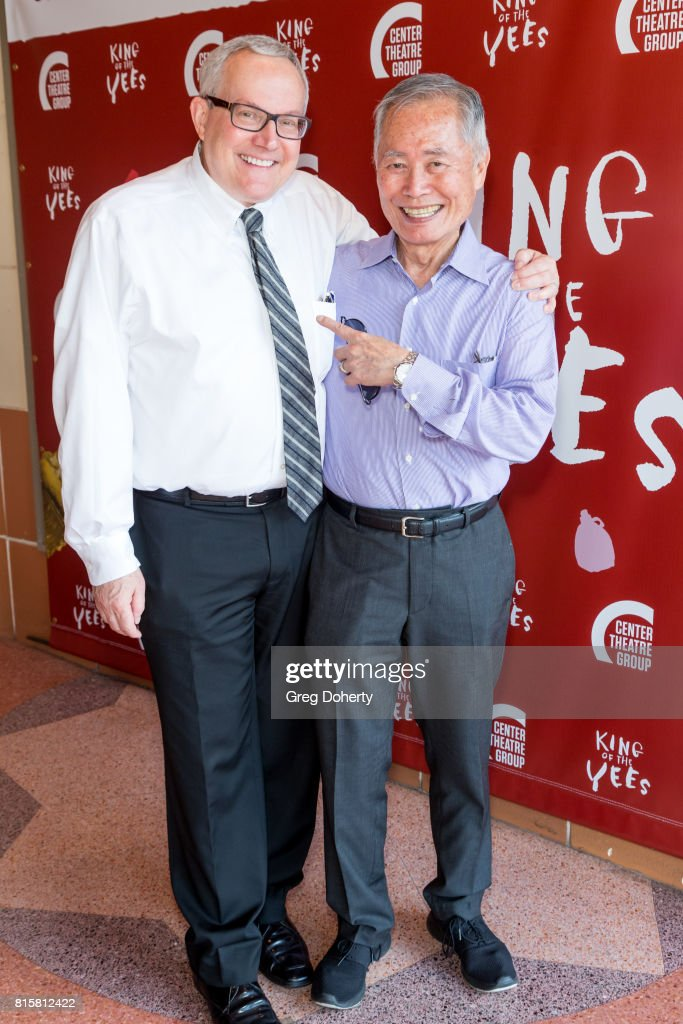 Actor George Takei and husband Brad Takei attend the opening night of 'King Of The Yees' at the Kirk Douglas Theatre on July 16, 2017 in Culver City, California.