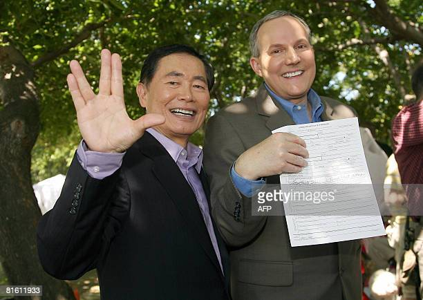 Actor George Takei and partner Brad Altman pose following their wedding June 17 2008 in West Hollywood California Takei is known to millions of fans...