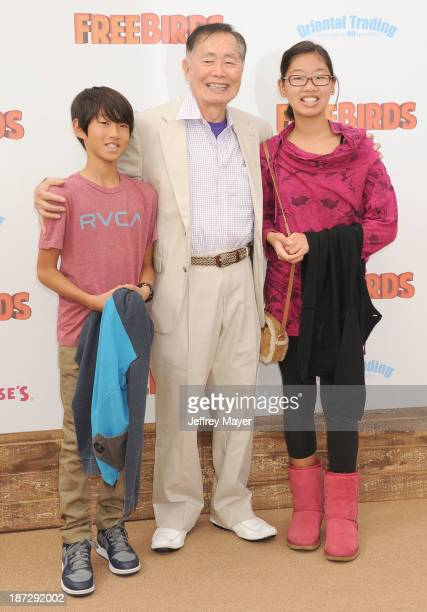 Actor George Takei arrives at the 'Free Birds' Los Angeles Premiere at Westwood Village Theatre on October 13 2013 in Westwood California