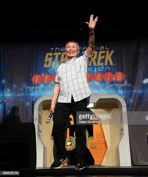 Actor George Takei extends his arm with a live long and prosper gesture from the Star Trek television franchise as he speaks during the 14th annual...