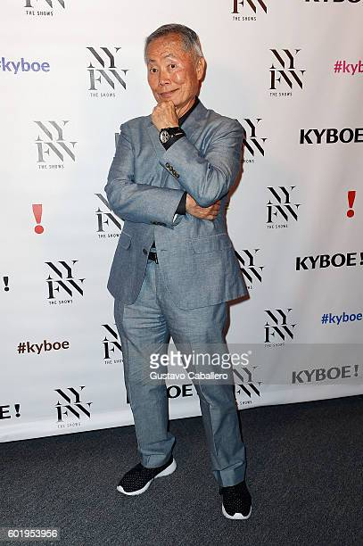 Actor George Takei poses backstage at the KYBOE fashion show during New York Fashion Week The Shows at The Arc Skylight at Moynihan Station on...