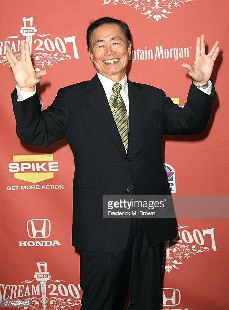 """Actor George Takei poses in the pressroom during Spike TV's """"Scream 2007"""" held at The Greek Theatre on October 19, 2007 in Los Angeles, California."""