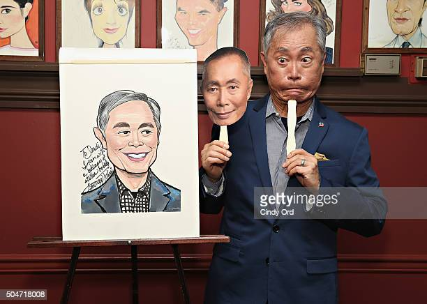 Actor George Takei poses with his Sardi's portait after its unveiled at Sardi's on January 12 2016 in New York City