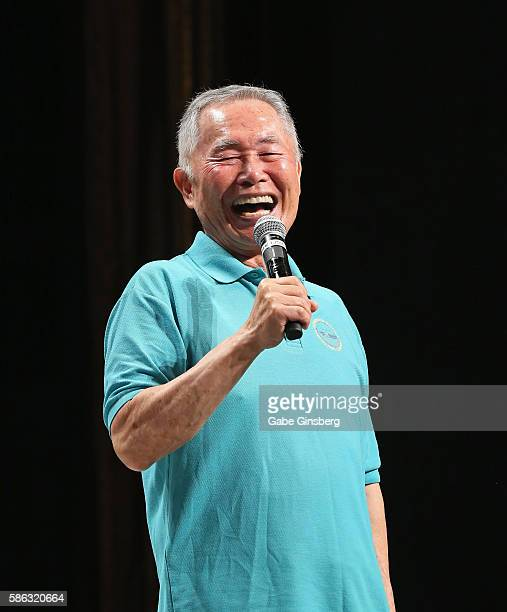 Actor George Takei reacts to being asked about his feud with William Shatner during the 15th annual official Star Trek convention at the Rio Hotel...