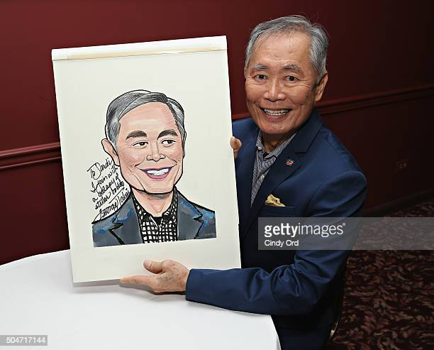 Actor George Takei signs his Sardi's portait after its unveiled at Sardi's on January 12 2016 in New York City