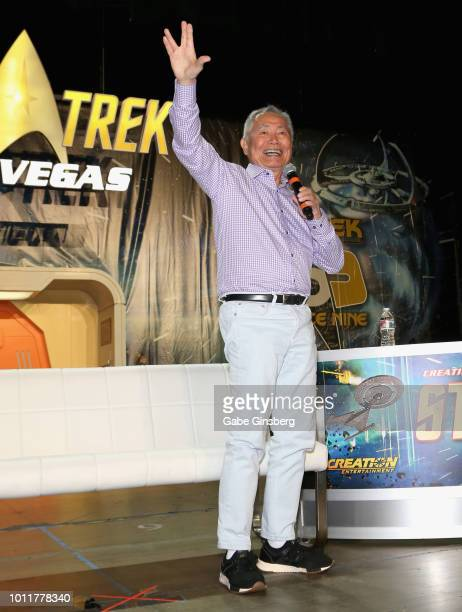 Actor George Takei speaks at the George Takei panel during the 17th annual official Star Trek convention at the Rio Hotel Casino on August 5 2018 in...