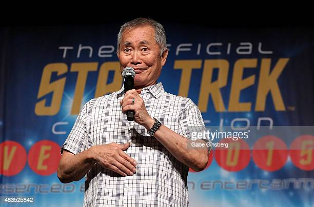 Actor George Takei speaks during the 14th annual official Star Trek convention at the Rio Hotel Casino on August 9 2015 in Las Vegas Nevada