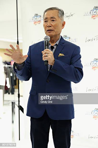 Actor George Takei speaks during the Allegiance cast meet and greet at Lord Taylor on December 14 2015 in New York City