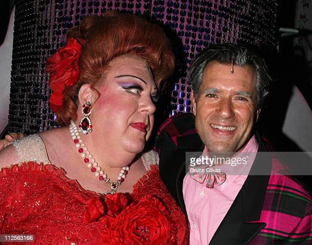 """Actor George Wendt known as """"Norm"""" from The NBC Comedy """"Cheers"""", poses with Jim J. Bullock who plays """"Wilbur Turnblad"""", as he makes his debut as..."""