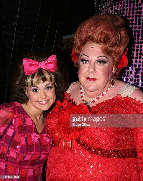 """Actor George Wendt known as """"Norm"""" from The NBC Comedy """"Cheers"""", poses with Lori Eve Marinacci who plays """"Tracy Turnblad"""", as he makes his debut as..."""