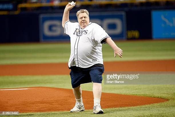 Actor George Wendt throws out the ceremonial first pitch before the start of the Rays' Opening Day game against the Toronto Blue Jays on April 3 2016...