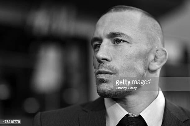 Actor Georges StPierre attends Marvel's 'Captain America The Winter Soldier' premiere at the El Capitan Theatre on March 13 2014 in Hollywood...